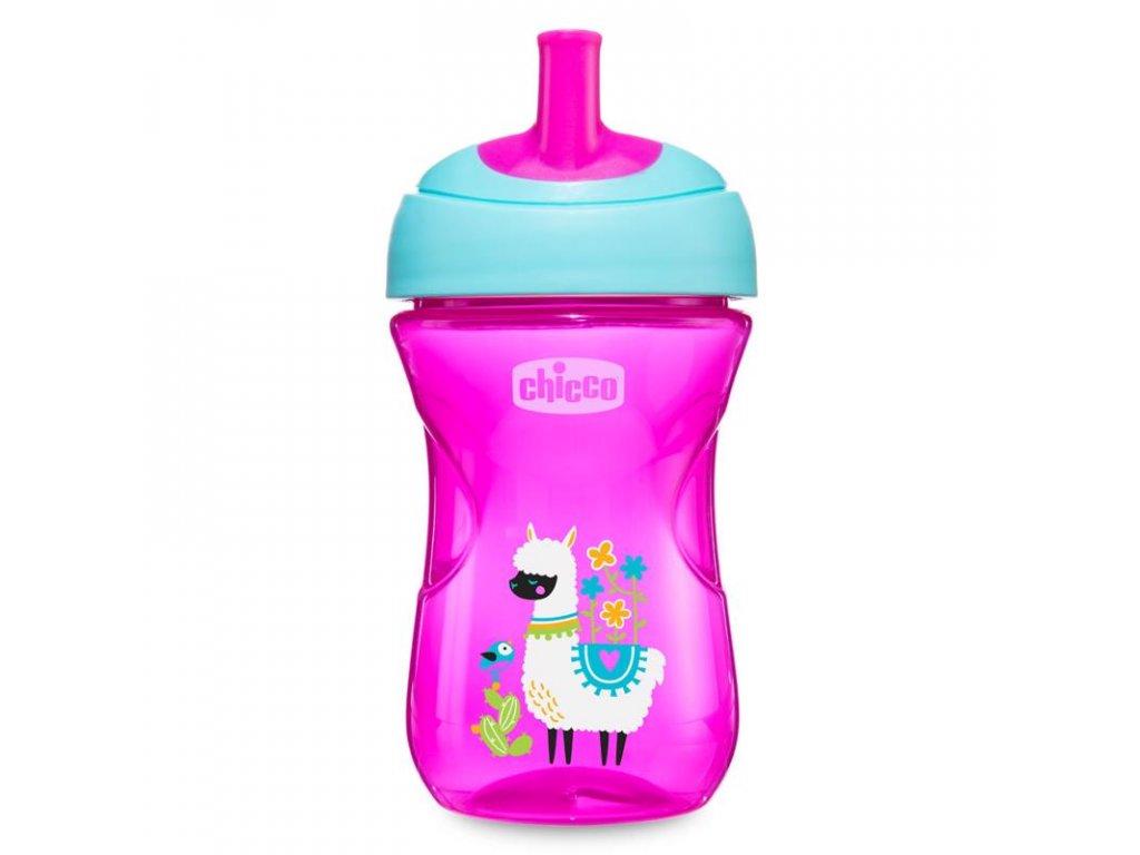 Detský pokročilý hrnček CHICCO so slamkovým náustkom, ružový 12m+ 266 ml