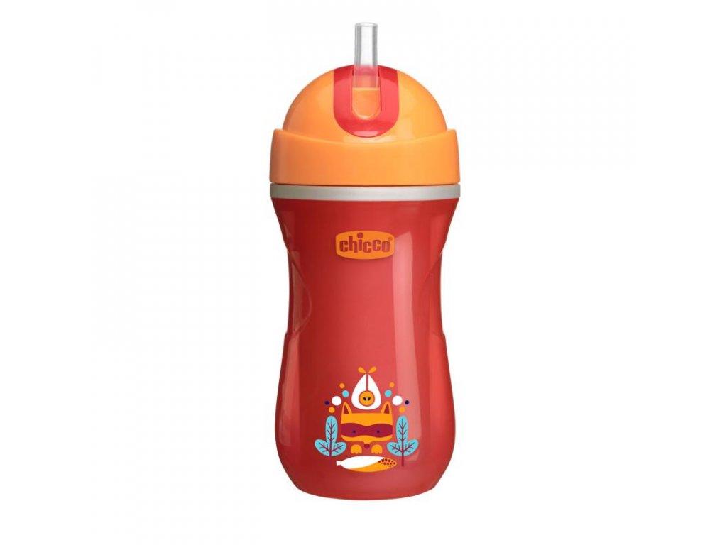Športový detský termo hrnček so slamkou CHICCO , červený 14m+ 266 ml