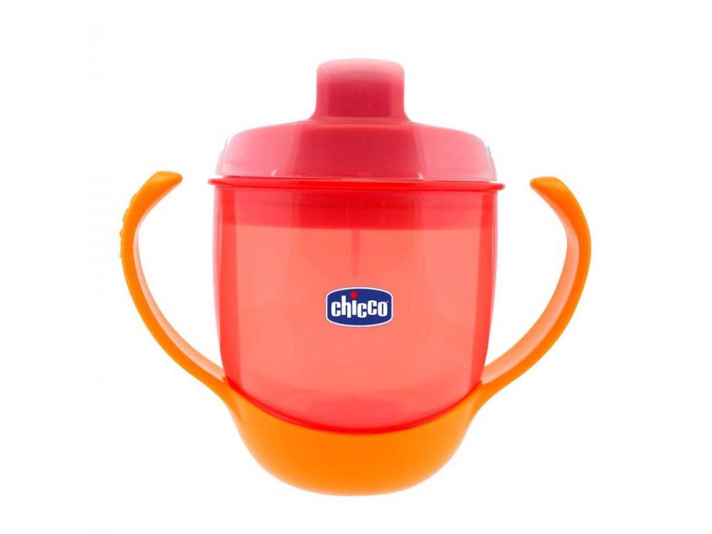 Detský učiaci hrnček s držadlami CHICCO Meal Cup, červený 12m+ 180 ml
