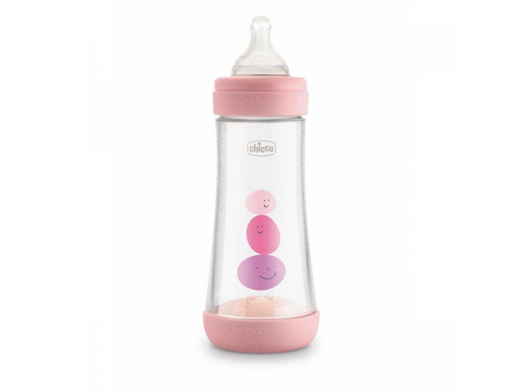 Dojčenská fľaša CHICCO Perfect 5 silikón, dievča 300 ml