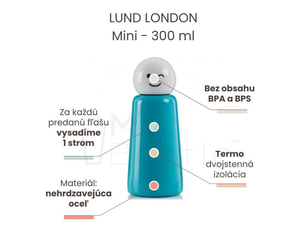 Termo fľaša LUND LONDON Skittle Bottle Mini 300ml - Sky Blue & White wink
