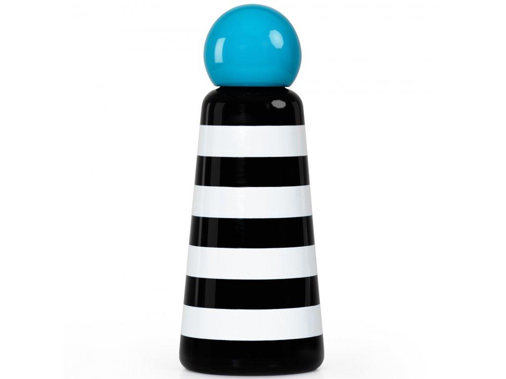 Termo fľaša do školy LUND LONDON Skittle Bottle Original 500ml - Stripes & Sky Blue