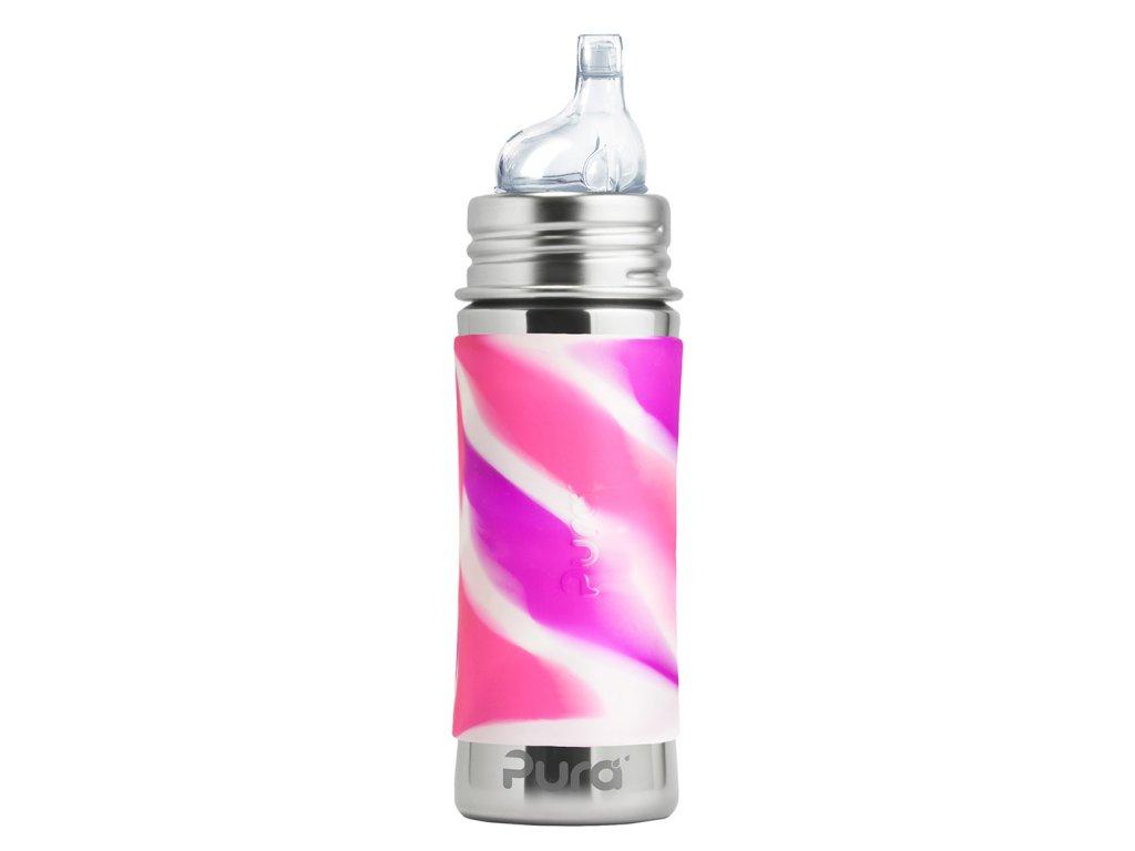 Nerezová PURA fľaša s náustkom 325ml rúžovo biela