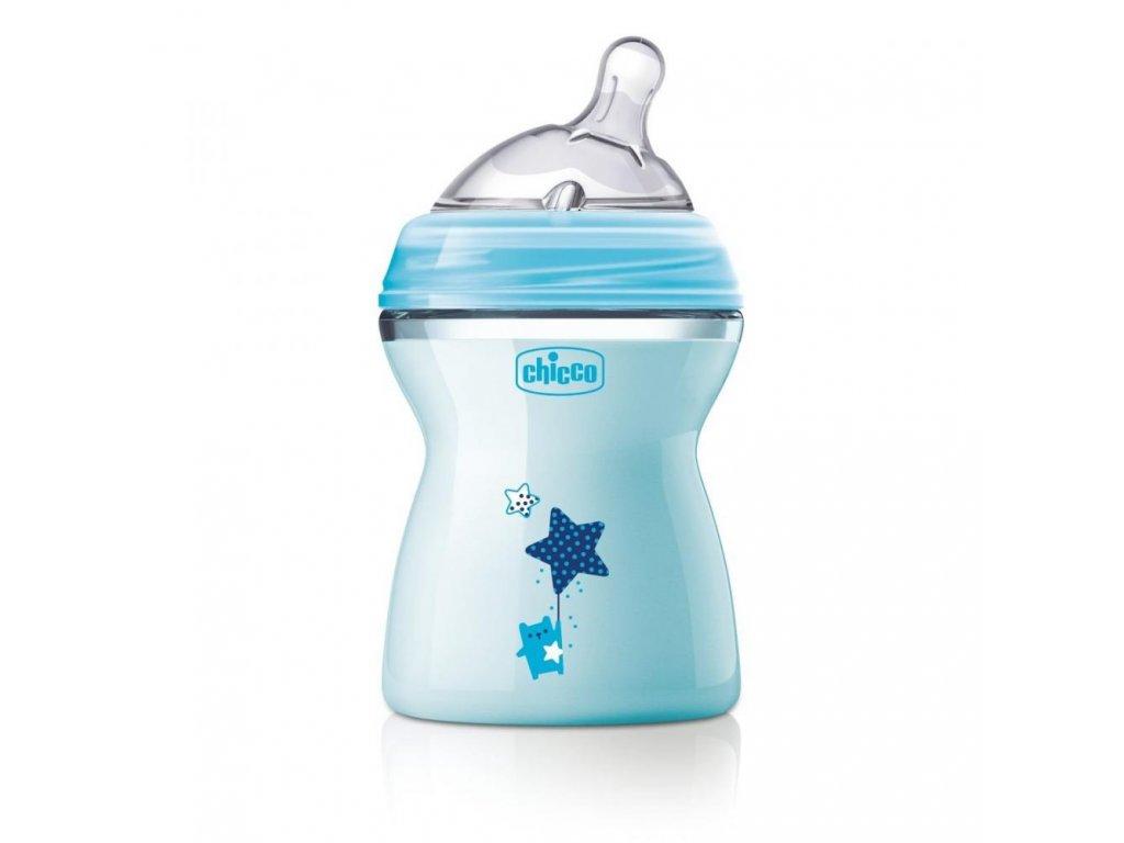 Dojčenská fľaša CHICCO Natural Feeling 250 ml, chlapec 2m+