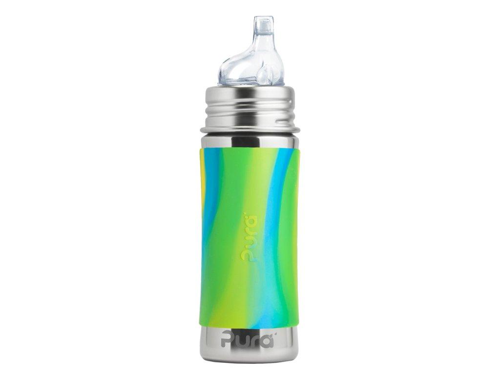 Nerezová fľaša s náustkoma zelena aqua