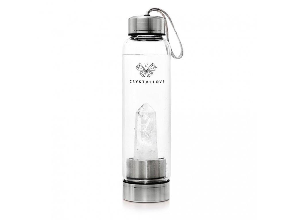 Fľaša na vodu CRYSTALLOVE s priehľadným kryštálom - STRIEBORNÁ 550 ml