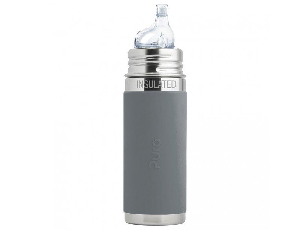 TERMO fľaša s náustkom Pura - sivá 260 ml