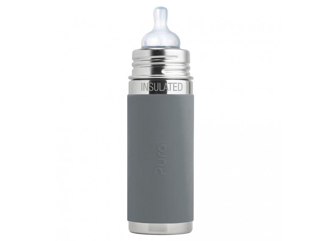Dojčenská termo fľaša sivá