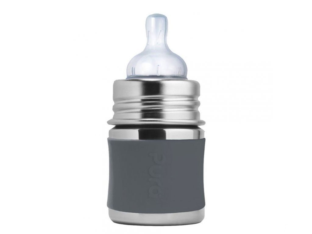 Nerezová PURA dojčenská fľaša sivá