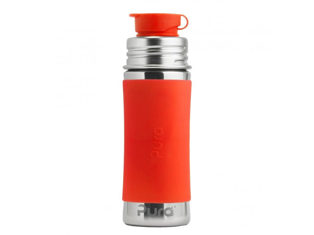 Nerezová fľaša so športovým uzáverom oranžová