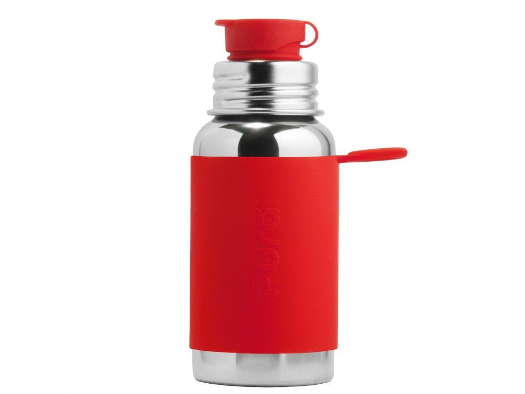 Nerezová fľaša so športovým uzáverom červená