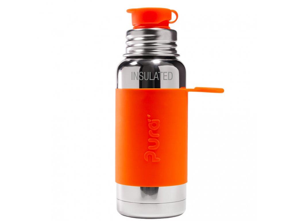 Termo fľaša PURA so športovým uzáverom oranžová