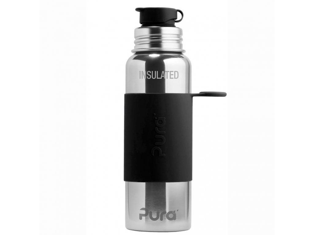 Termo fľaša PURA so športovým uzáverom čierna