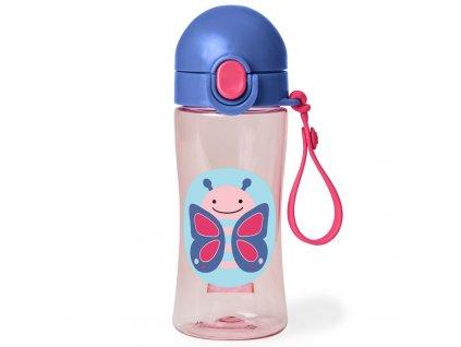 Detská fľaša so silikónovým náustkom a uzáverom SKIP HOP Zoo  - Motýlik 3+, 114 ml