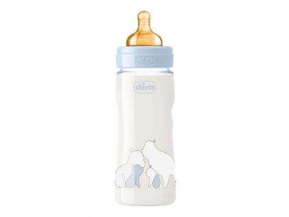 Dojčenská fľaša CHICCO Original Touch latex, 330 ml - chlapec