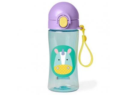 Detská fľaša so silikónovým náustkom a uzáverom SKIP HOP Zoo - Jednorožec 3+, 114 ml