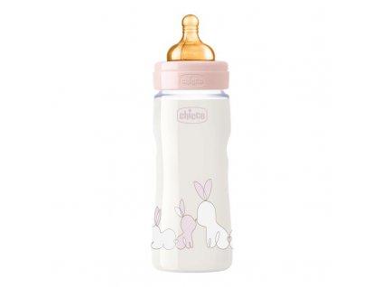 Dojčenská fľaša CHICCO Original Touch latex, 330 ml - dievča