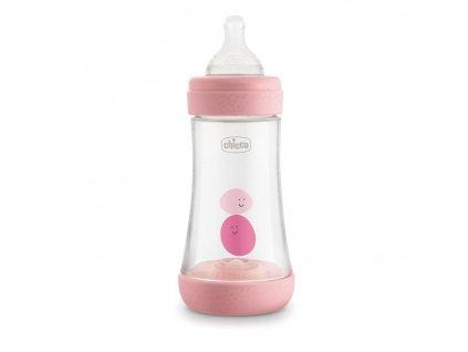 Dojčenská fľaša CHICCO Perfect 5 silikón, 240 ml dievča