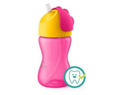 avent fľaška s ohybnou slamkou 300ml ružový