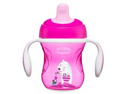 Detský učiaci hrnček s držadlami CHICCO 200 ml, ružový 6m+