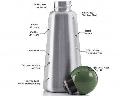 Termo fľaša LUND LONDON Skittle Adventure Bottle Original 500ml - Stainless Steel & Khaki