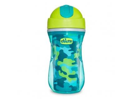 Športový detský termo hrnček so slamkou CHICCO , zelený 14m+ 266 ml