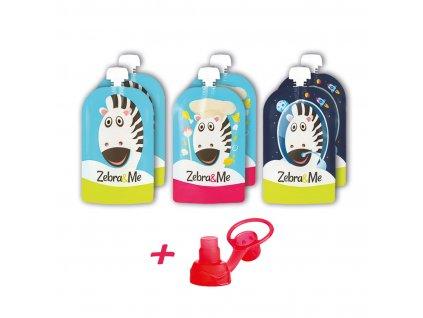 Plniteľné kapsičky pre deti na opakované použitie Zebra&Me 150 ml, 6ks + náustok zadarmo