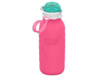 Silikónová Squeasy Gear fľaša rúžová