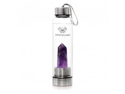 Fľaša na vodu CRYSTALLOVE s fialovým kryštálom - STRIEBORNÁ 550 ml