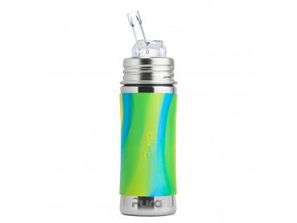 Nerezová fľaša PURA so slamkou zelená aqua