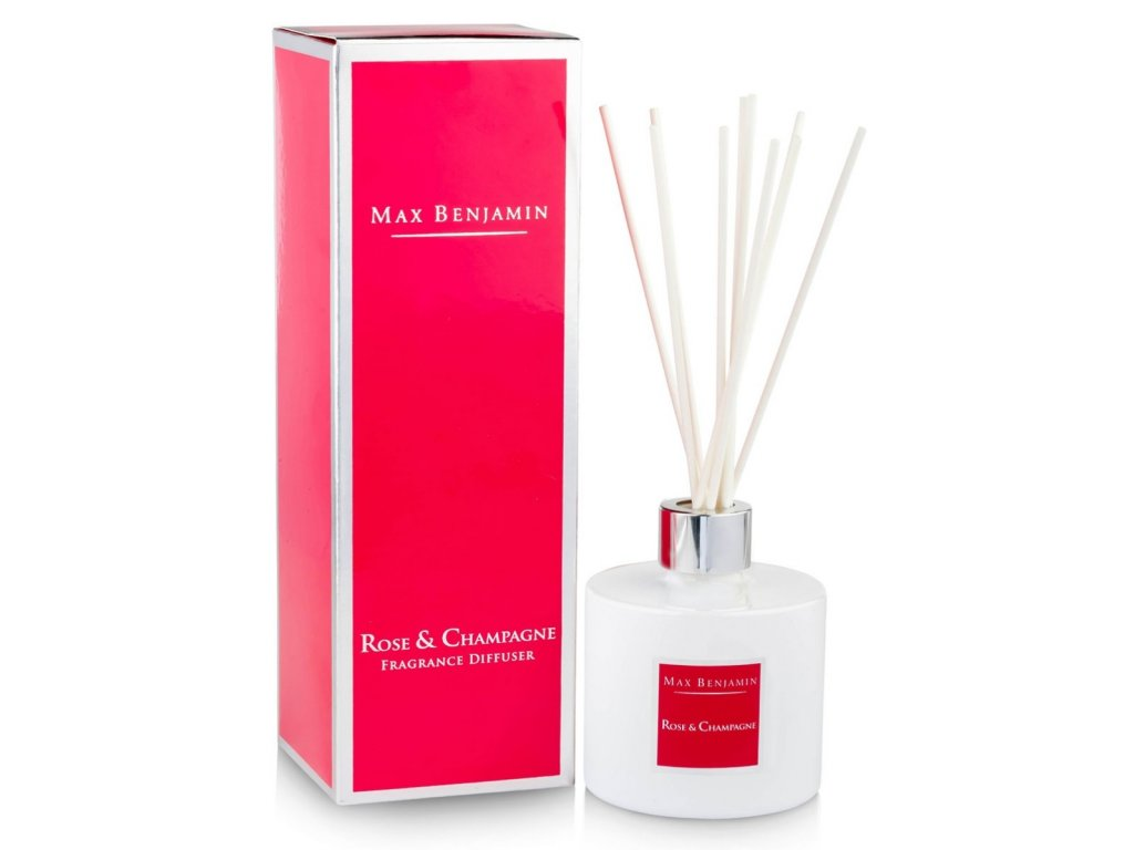 max benjamin rose and champagne fragrance diffuser and box