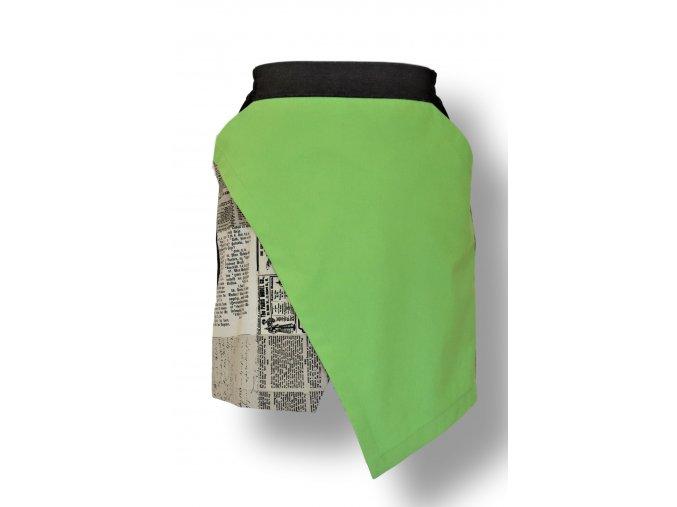 DigFahion sukně krátká zelená  asimetrická