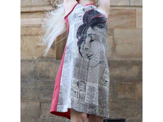 šaty Malování na Noviny růžové