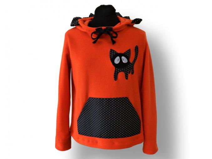 dámská mikina s kočičkou oranžová