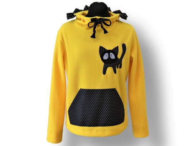 dámská mikina s kočičkou žlutá