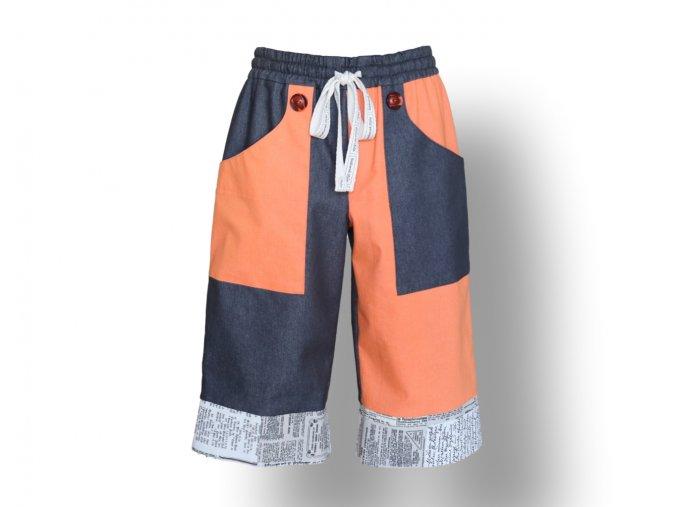 pánské kraťasy volnočasové oranžové barvy