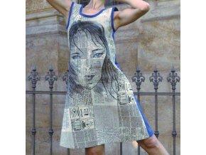 šaty Malování na Noviny modré