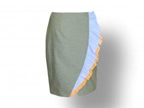 DigFashion sukně olivová s volány 1