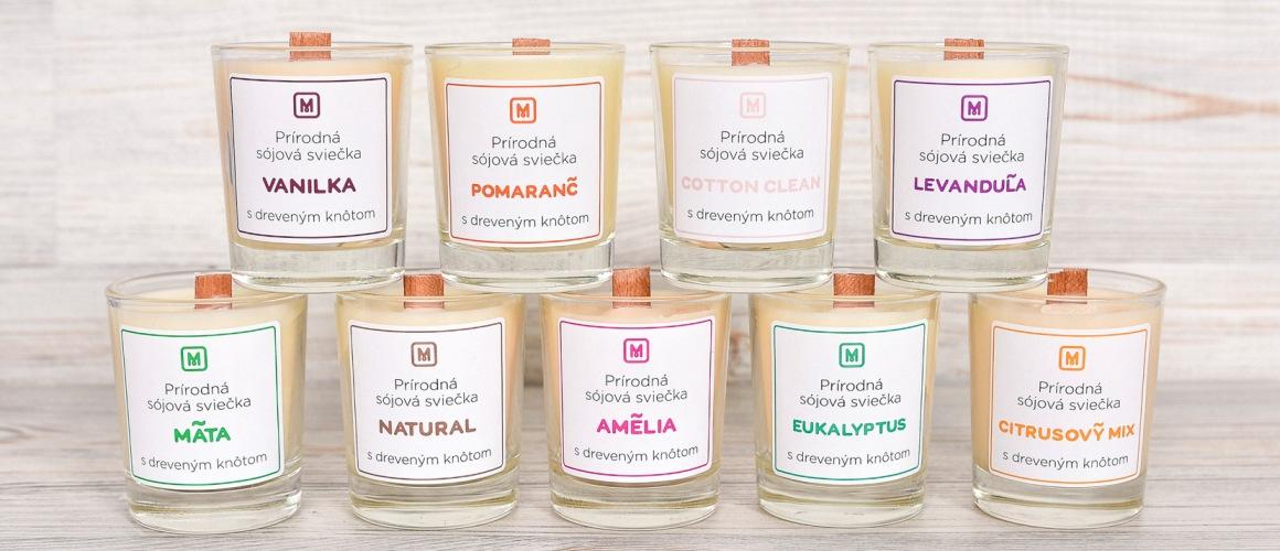 Prírodné sójové sviečky v skle