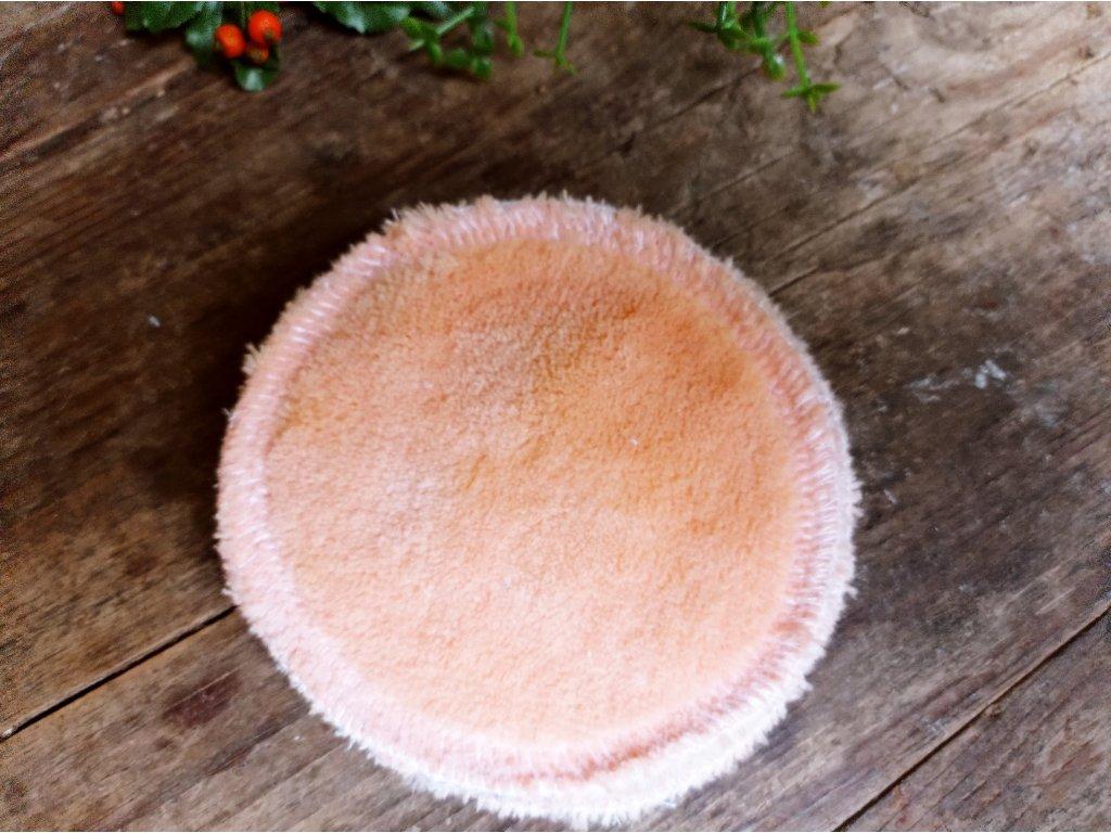 Kosmetický tampon oranžový mikroplyš kulatý