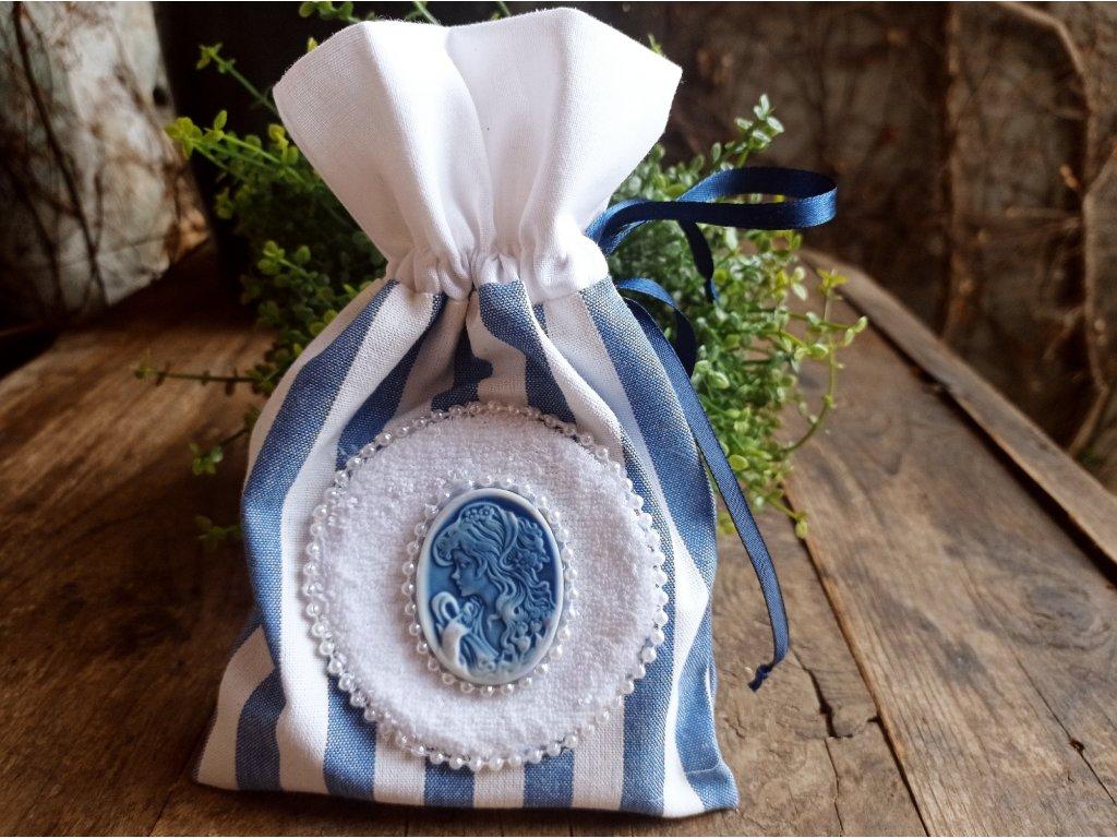 Plátěný pytlíček s modrým kabošonem