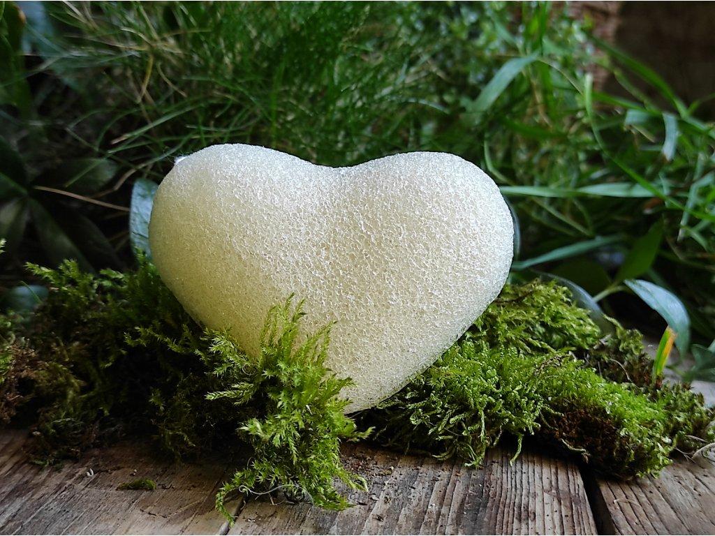 Bílý konjac SRDÍČKO přírodní čistící houbička