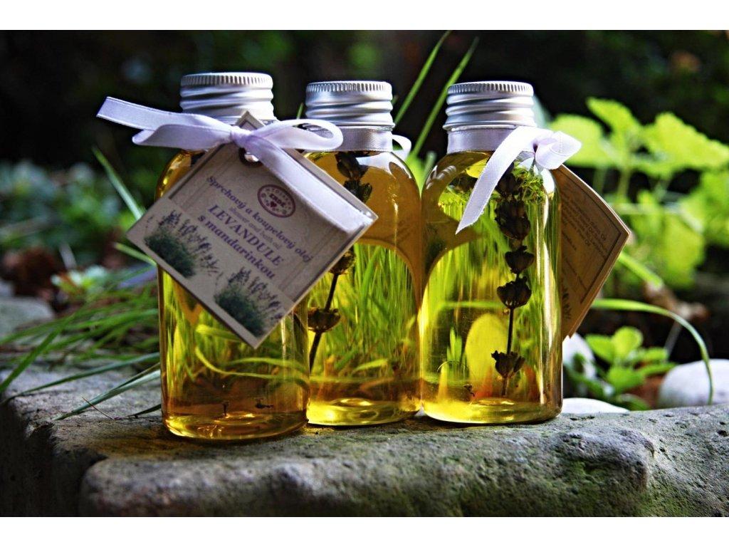 Levandule s mandarinkou přírodní sprchový olej
