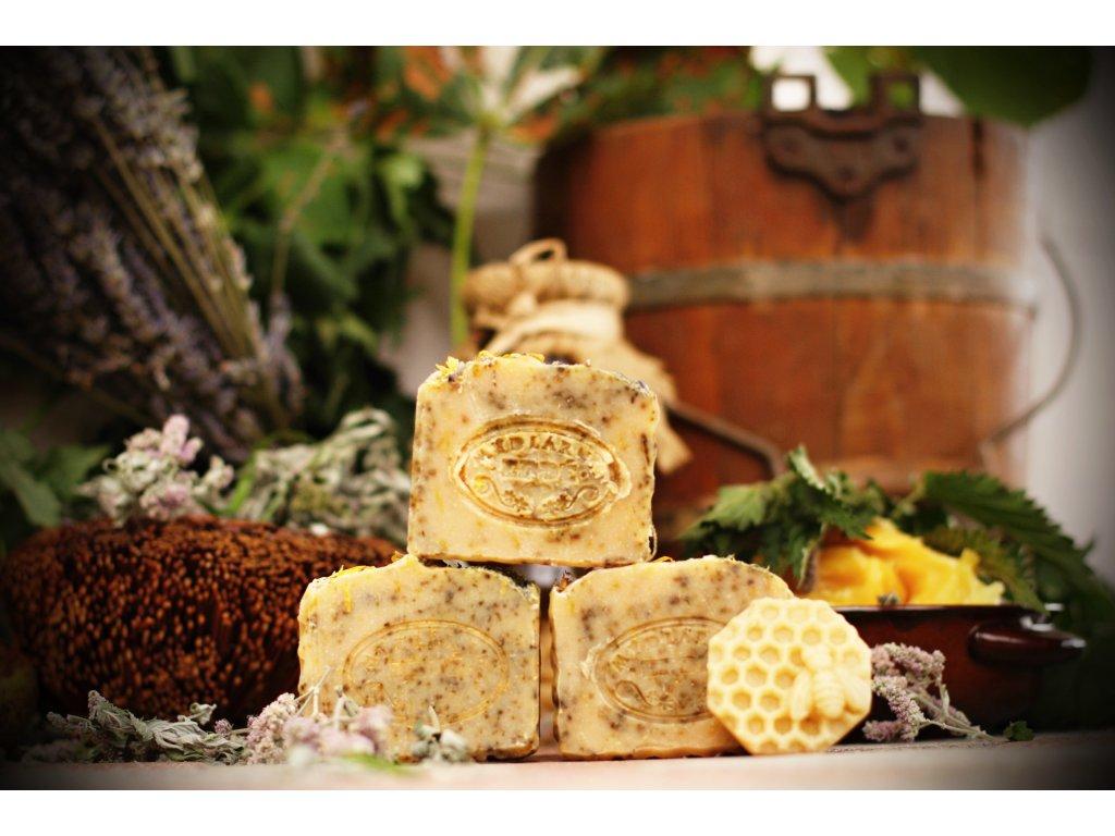 Farmářské přírodní mýdlo s lanolínem - Meduňkové