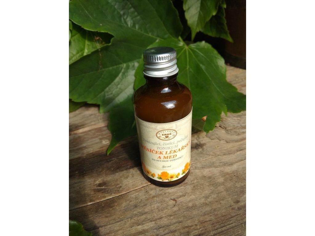 Měsíček lékařský a med čistící tonikum 115 ml ve skle