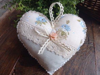 Textilní srdíčko Shabby