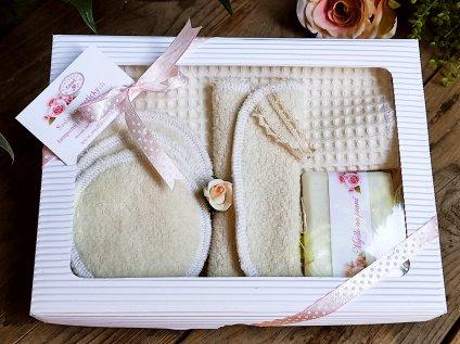 Krémová sada odličovacích textilních tamponů