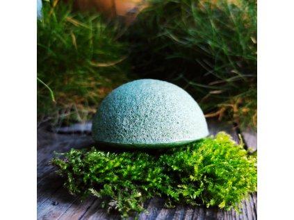 Tmavě zelený konjac přírodní čistící houbička