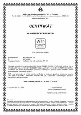 Certifikát na kosmetické přípravky