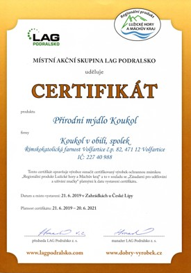 Certifikát MAS Podralsko